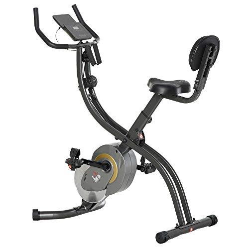 HOMCOM Heimtrainer, 2-in-1 Fahrradtrainer 6 kg Schwungrad, Trimmrad mit 16 stufig einstellbarem Magnetwiderstand und 1 Paar Spannseil, Stahl, Schwarz+Grau, 51 x 97 x 115 cm