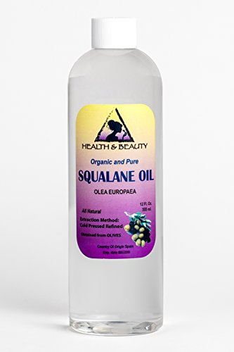 Squalane Oil Olive-Derived Anti-Aging Moisturizer Cold Pressed Undiluted Premium 100% Pure 12 oz