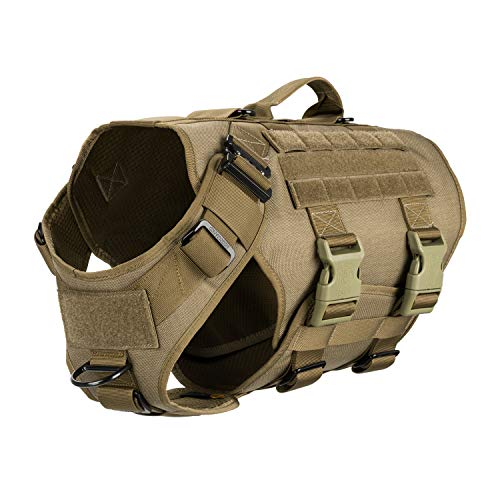 ICEFANG Tactical Dog Operation Harness with 6X Buckle,Dog Molle Vest with Handle,3/4 Body Coverage,Hook and Loop Panel for ID Patch,No Pulling Front Clip (XL (32'-40' Girth), Coyote Brown)