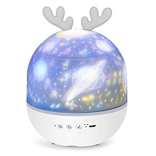 Star Projector,Night Light Projector for Kids, 2 in 1 Baby Night Lamp Musicbox with Remote Control, 6 Projector Films 360° Rotation Romantic Starry Sky Baby Nursery Night Light Birthday for Bedroom