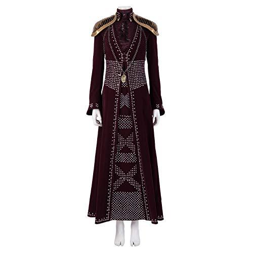 Juego de tronos 8 queen cersei lannister disfraz adulto mujer vestido rojo, camisa de manga larga, armadura de hombro, collar Halloween Cosplay disfraces Movie Props Deluxe Edition,cersei-XXL