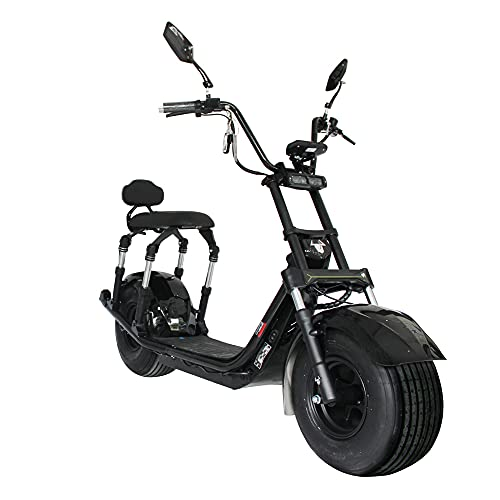 H4-Pro 2000W Electric Scooter Adult Citycoco 37.5mph One-Button Start Front and Rear Disc Brakes 60V 21.8Ah Removable Lithium Battery with Large Display