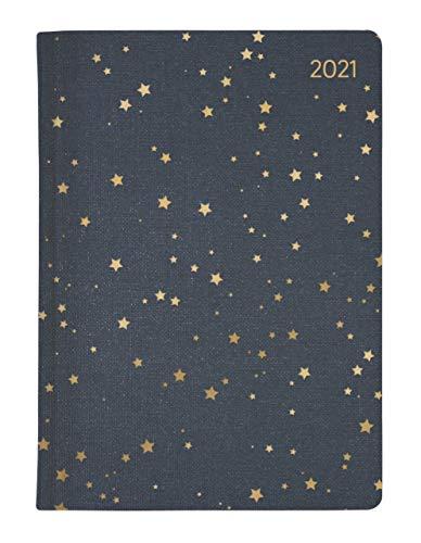 Ladytimer Glamour Stars 2021 - Taschen-Kalender A6 - Weekly - 192 Seiten - Metallicprägung Sterne - Notiz-Buch - Alpha Edition