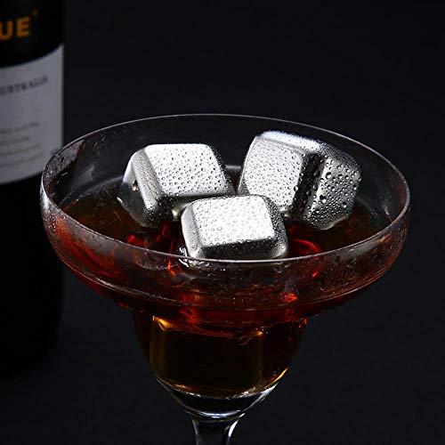 CTOBB Edelstahl Wiederverwendbare Eiswürfel Gefrorene Eisblöcke Maker Whiskey Eiswürfelbereiter Nützliche Wein Bierkühler, 8pcs
