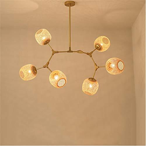 DECORATZ LED Bambus Weben Lampenschirm Molecular Droplight, 6 Lichter E27 Schnittstelle Kreative Einfachheit Zweig Form Kronleuchter Wohnzimmer Schlafzimmer Rattan Pendelleuchte-L120CM*H60CM