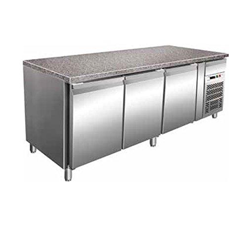 Tischplatte Gekühlt Gebäck 3Türen Konvektion in Edelstahl mit Tischplatte aus Granit Temp. + 2/+ 8°C