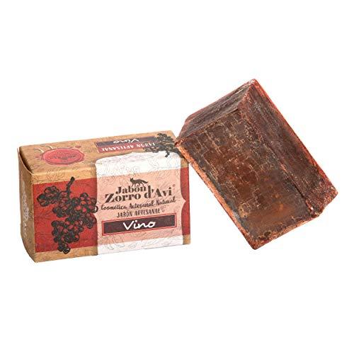 Jabón Zorro D'Avi | Jabón Natural de Vino | 120 gr | para Pieles Sensibles | Biodegradable Zero Waste | Jabón Ecológico Facial y Corporal | Hidratante y Regenerador | Fabricado en España