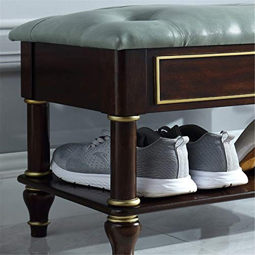 Taburete de Sofá Madera sólida del zapato Gabinete de madera de calzado americana Cambio de heces de la sala de zapatos simple Gabinete Para el Pasillo de Entrada ( Color : Verde , Size : 60x30x44cm )