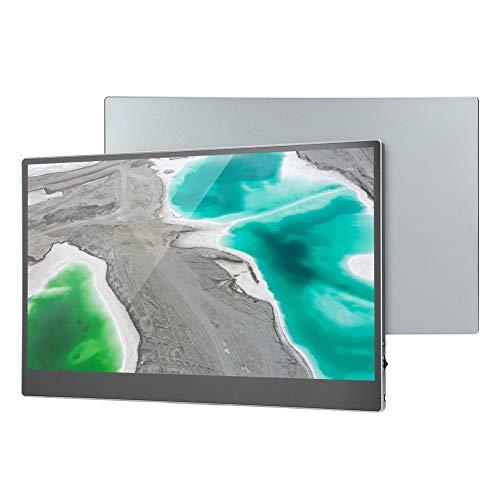 Monitor IPS Full HD de 15,6 pulgadas (3840×2160P)-Monitor HDR portátil Monitor 4K Monitor HDMI ultrafino Monitor de pantalla táctil con funda de cuero para uso doméstico,oficinas y viajes(Plata)(EU)