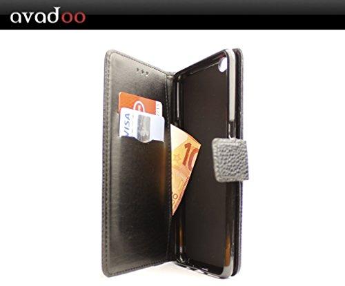 avadoo® Archos Diamond Gamma Flip Case Cover Tasche Schwarz mit Magnetverschluss & Dualnaht als Cover Tasche Hülle