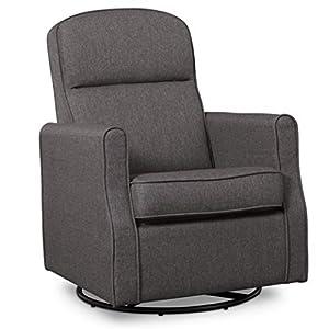 Delta Children Blair Slim Nursery Glider Swivel Rocker Chair, Charcoal by Delta Baby Dropship