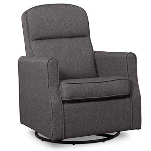 Delta Children Blair Slim Nursery Glider Swivel Rocker Chair, Charcoal
