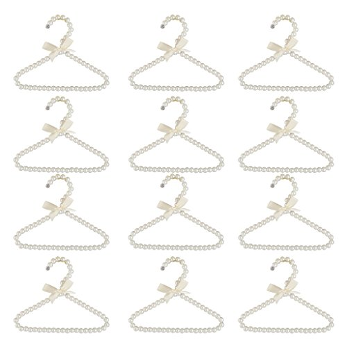 Baoblaze 12Pcs Hanger Hanging for Kids Clothes Children Space Save Plastic Pearl Baby White
