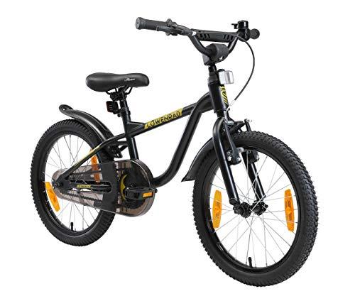 LÖWENRAD Kinderfahrrad für Jungen und Mädchen ab 5 Jahre | 18 Zoll Kinderrad mit Bremse | Fahrrad für Kinder | Schwarz
