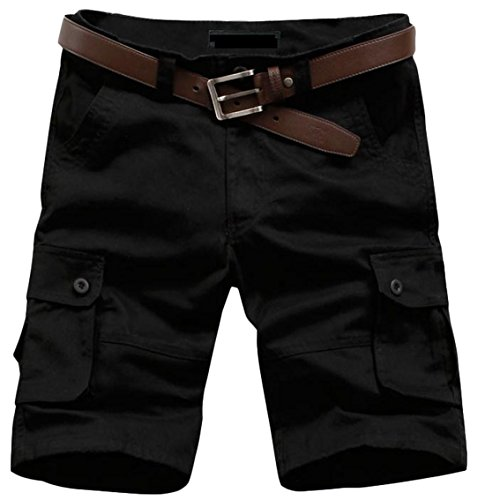 ARRIVE GUIDE Mens Casual Outdoor Straight Leg Mid Waist Cargo Shorts Black S