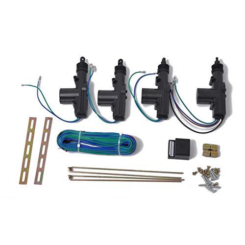 Cerradura de la puerta delantera Coche de 4 puertas de corriente universal actuador de la cerradura Kit de 2 cables y 5 hilos bloqueo automático Sistema de motor, for automóviles