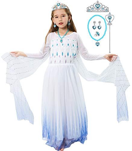 Tacobear Elsa Frozen Costume Principessa Bambina Elsa Vestito Principessa Corona Parete Guanti Collana Orecchini Anello Principessa Vestito Halloween Costume Regalo Ragazza