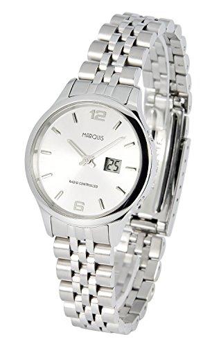 Elegante MARQUIS Damen Funkuhr (Junghans-Uhrwerk) Gehäuse und Armband aus Edelstahl 964.4790