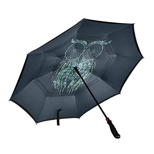 ISAOA - Paraguas de golf con diseño de búho, color azul marino y azul marino, con funda de transporte