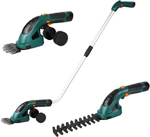 Best Price 2 in 1 Cordless Grass and Hedge Trimmer, 2 Interchangeable Blades, 2 Battery Powered Ligh...