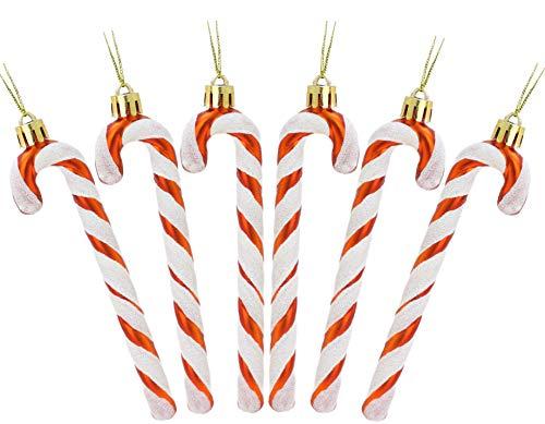 Christmas Concepts® Paquet De 6-13cm De Canne en Bonbon Glitter Décorations darbre De Noël (Cuivre & Blanc)