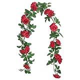 SHACOS 3 Stück Kunstblumen Seidenblumen Girlande Vintage Künstliche Blumen Rosen Rot Blumengirlande Künstlich 6Meter Lang Rosengirlande Rot Hochzeit Party Dekor