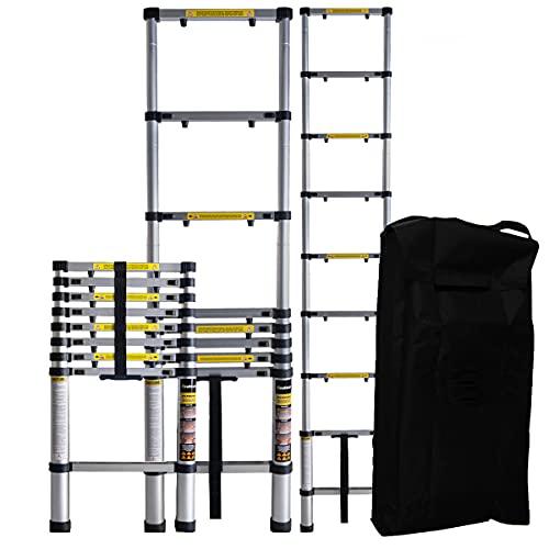 𝐂𝐑𝐀𝐅𝐓𝐅𝐔𝐋𝐋 Aluminium Teleskopleiter inkl. Tragetasche - 𝟑 𝐉𝐀𝐇𝐑𝐄 𝐆𝐀𝐑𝐀𝐍𝐓𝐈𝐄 - Mehrzweckleiter - Stehleiter - Aluminiumleiter - Leiter - Aluleiter (2.6 Meter)