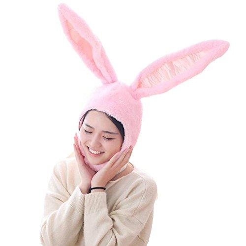 BOBILIKE Plush Fun Bunny Ears Hood Women Costume Hats Christmas Gift Warm Soft and Cozy, Pink
