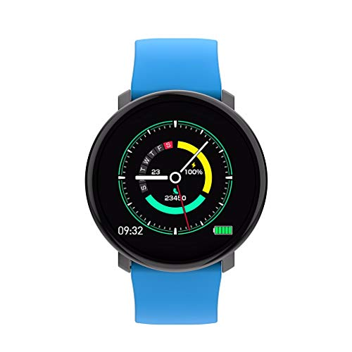 CAOQAO- Reloj Hombre Mujer Unisex Smart Watch Sports Fitness Activity Heart Rate Tracker Presión Arterial Reloj IP67 (Azul)