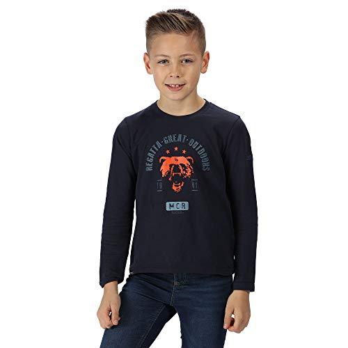 Regatta T- Shirt Manches Longues Junior Wendell 100% Coton Coolweave avec imprimé Graphique Mixte Enfant, Navy Bear, FR : M (Taille Fabricant : 140)