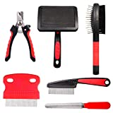 tonyg-p 6 Pack DogGrooming Kit - SoftSlicker Brush, Double Sided Pet Grooming Brush, Pin & Flea Comb, Nail Clippers & File - ProfessionalPet Grooming Set for Dog and Cat