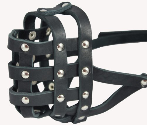 Genuine Leather Dog Basket Muzzle #108 Black - Bulldog, Boxer (CircuSmference 13', Snout Length 2.5')