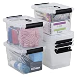Farmoon 6 Quart Clear Storage Bin, Small Plastic Stackable Box/Cotainer with Lid and Black Handle, 6 Packs