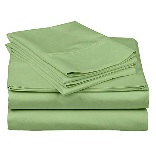 500 Thread Count 100% Egyptian Cotton Sheet Set -King Size Sheets Set - 17 inch Deep Pocket of Fitted Sheet - 4 Piece Sheet Set (Sage Solid-King 17 inch Deep Pocket Sheets)