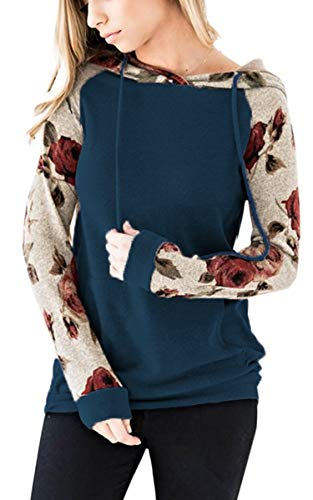Angashion Women's Floral Printed Long Sleeve Pullover Hoodies Sweatshirt with Pocket Blue 3XL