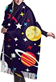 Irener Bufanda de mantón, Seamless Pattern Space With Planets And Stars, Vector Illustration Unisex Large Lightweight Soft Silky Cashmere Shawl Wrap Scarf