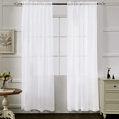 "MYSTIC-HOME White Sheer Curtains 84 Inches Long, Rod Pocket Sheer Drapes for Living Room, Bedroom, 2 Panels, 52""x84"", Semi Crinkle Voile Window Treatments for Yard, Patio, Villa, Parlor"