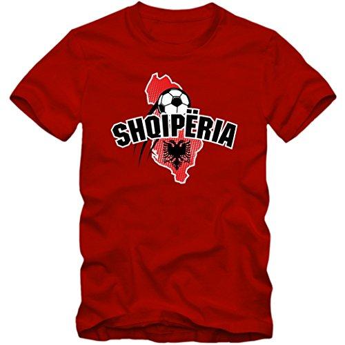 Albanien WM 2018#1 T-Shirt | Shqiperia | Fußball | Herren | Kuq e zinjtë | Trikot | Nationalmannschaft, Farbe:Rot (Red L190);Größe:XXL