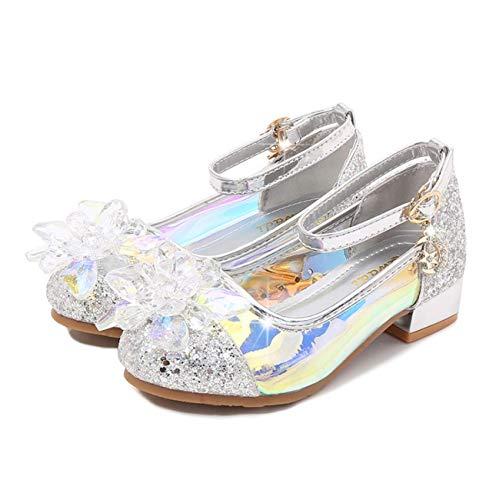 Fanessy Zapatos de Vestir de Lentejuelas de Princesa de Tacones Altos para niñas Zapatos de Baile de Tango Latino para niños Fiesta de Navidad de Halloween Cosplay Zapatos de Cristal Fluorescente