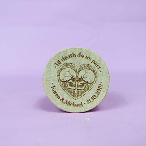 Funda de almohada con diseño de calavera para anillo de boda, anillo de compromiso, anillo de boda, caja de anillos personalizada, láser