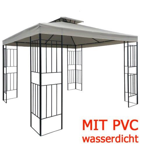 habeig WASSERDICHTER Pavillon Borneo 3x3m Metall inkl. Dach Festzelt wasserfest Partyzelt (Taupe)