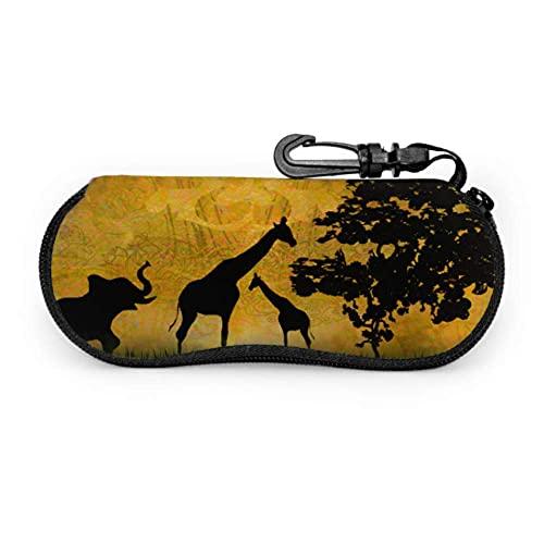 Estuche para anteojos Safari en África Silueta de animales salvajes Estuche para anteojos Reflecs Estuche para anteojos artístico Estuche para gafas de sol suave, portátil y ligero, 17x8cm
