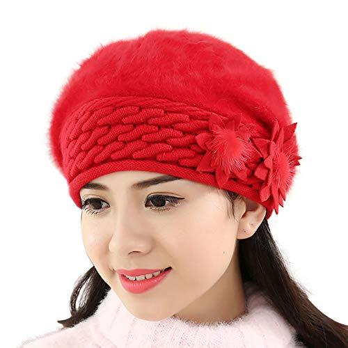Nuevas Mujeres holgadas holgadas Invierno cálido Sombrero de Ganchillo de Punto Suave Gorro Tejido Flor Boinas Casquete Invierno Sombrero