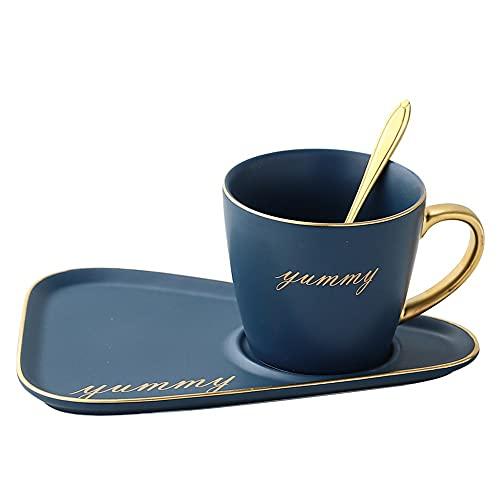 XDYNJYNL Elegante 8.79oz / 260ml Tazas de Porcelana, Conjunto de platillos, Taza de café ecológica Tazas de Leche con Mango Aislado Gafas de Highball de Highball Piña de Taza de té de la piña Cúpulas
