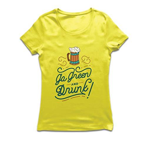 lepni.me Camiseta Mujer IR Verde y Borracho Feliz Día de la Cerveza (X-Large Amarillo Multicolor)