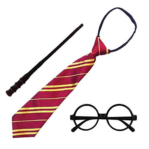 Disfraz de Mago Escolar,Gafas Negro de Marco,Varita mágica y Corbata para Adultos y Niños (Gafas Mago Pack Completo 1)