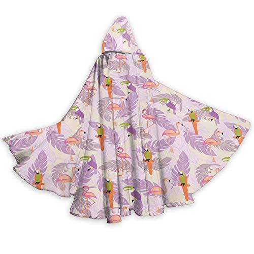 Inner-shop Patrón sin Costuras con Aves Tropicales exóticas Capa con Capucha Unisex Capa de Disfraz de Cosplay de Fiesta de Halloween para Adultos