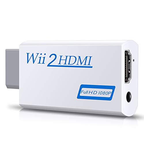 Zeato - Adattatore e convertitore Wii-HDMI, 1080P e 720P, uscita video e audio da 3,5 mm, supporta tutte le modalità di visualizzazione Wii - Bianca