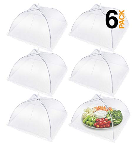 """Apecks - Mesh Food Covers for Outdoors - (6-Pack) Extra Large Food Tents - Bug Screen Protector - 17""""x17"""" - Umbrella Net for Flies, Bugs - Reusable & Collapsible - Plant Protector"""