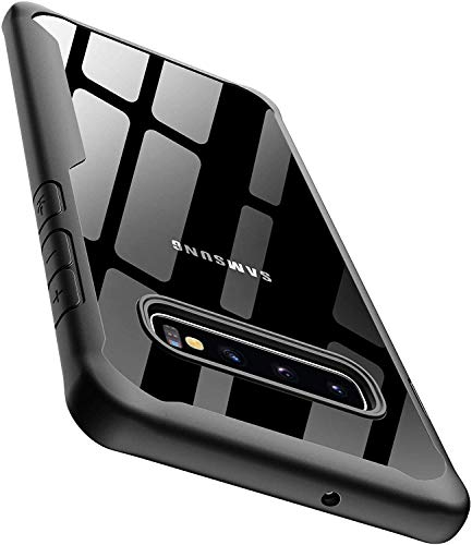 ORETECH Designed for Samsung Galaxy S10 Plus Case Clear Back Ultra Thin with Transparent Hard PC Soft TPU Silicone Rubber Edge Shockproof Protective Cover for Galaxy S10 Plus -6.4 ''-Black